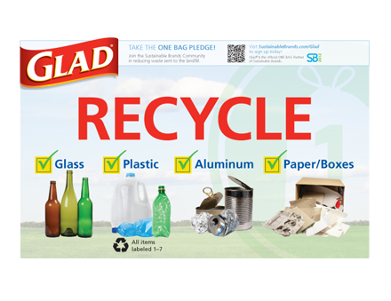 Glad recycling bin signs